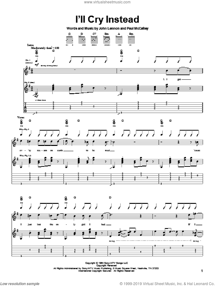 I'll Cry Instead sheet music for guitar (tablature) by Paul McCartney, The Beatles and John Lennon. Score Image Preview.