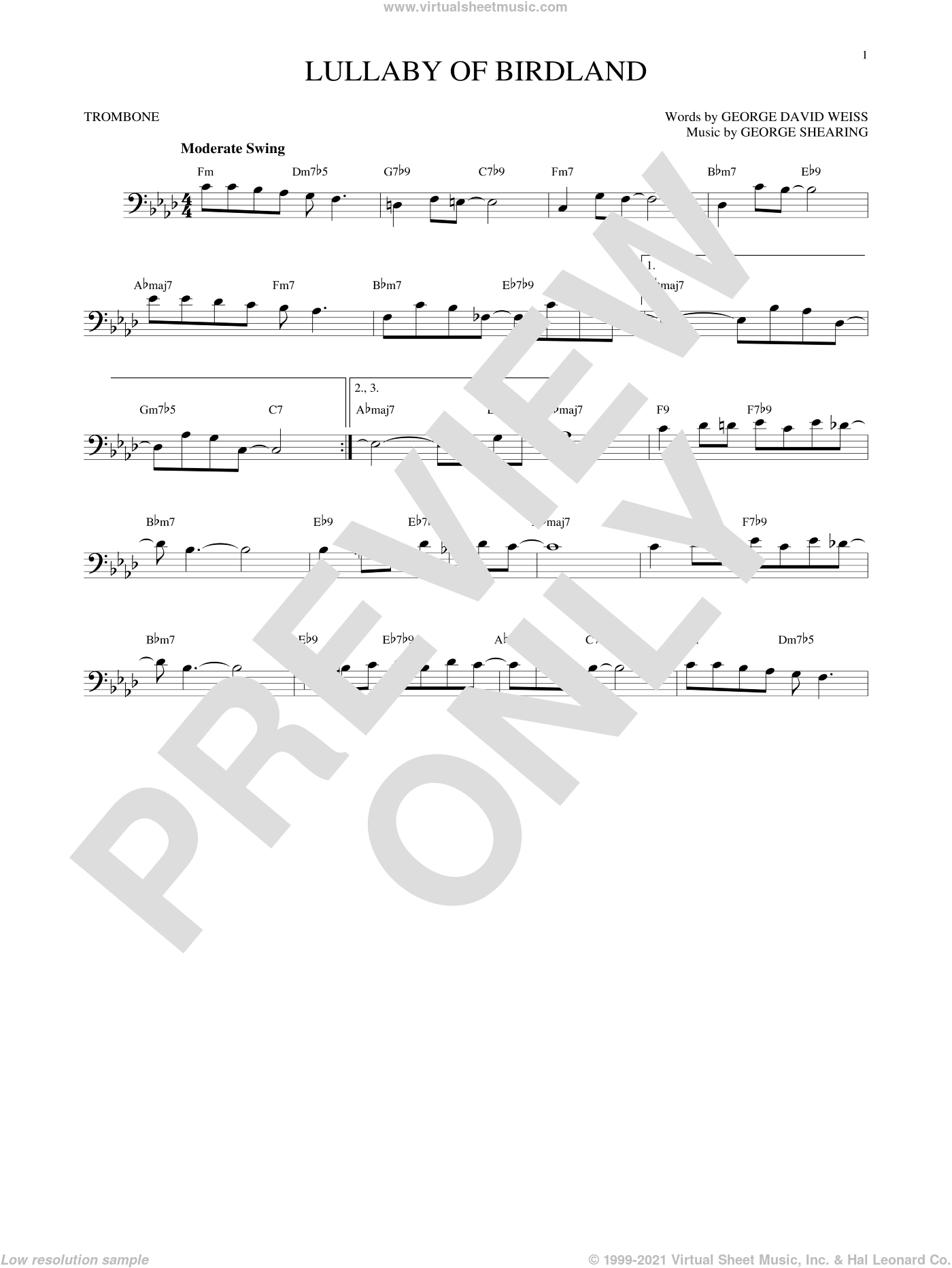 Lullaby Of Birdland sheet music for trombone solo by George David Weiss and George Shearing, intermediate skill level