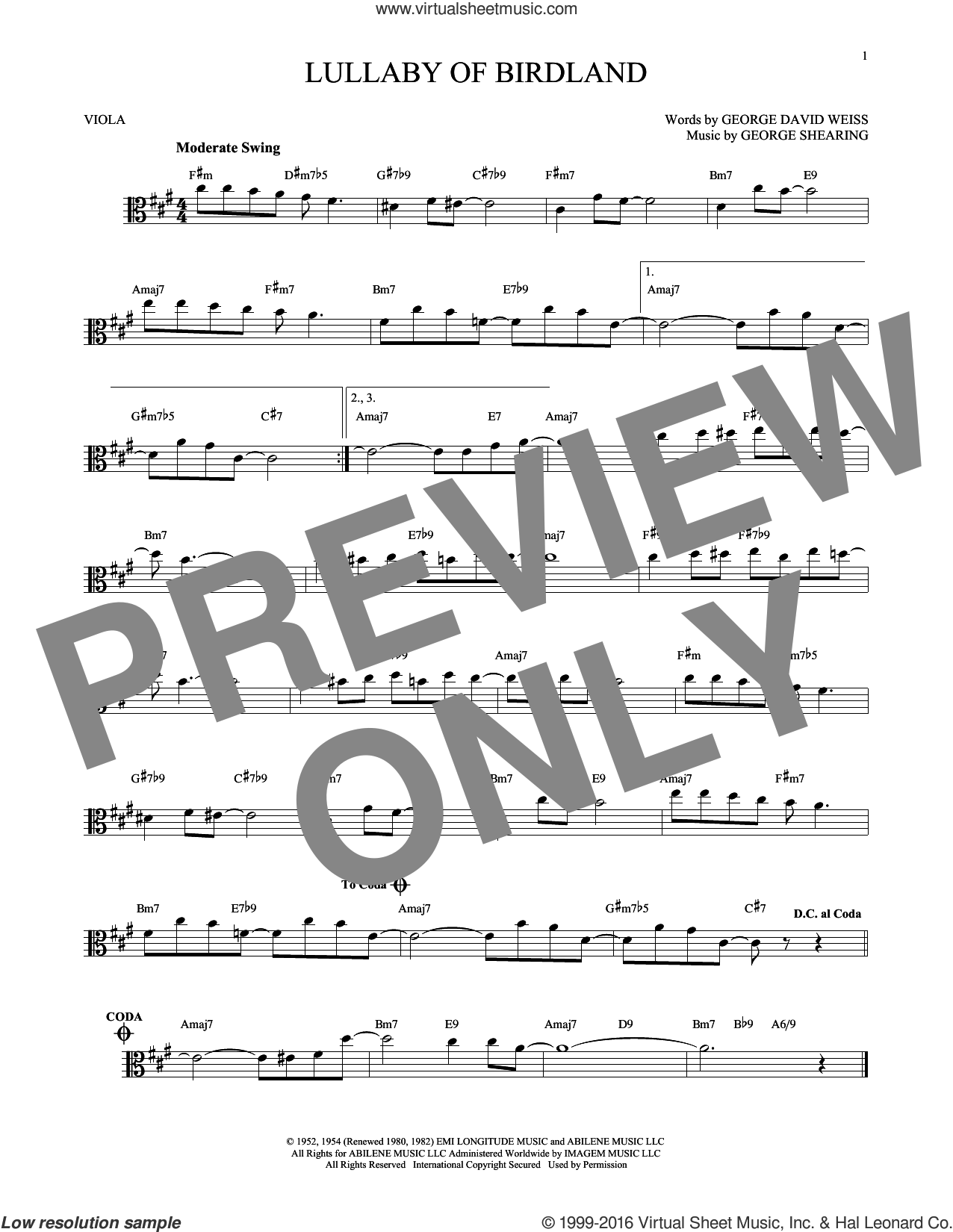Lullaby Of Birdland sheet music for viola solo by George Shearing and George David Weiss. Score Image Preview.