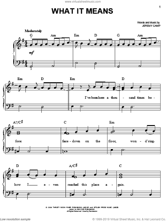 What It Means sheet music for piano solo by Jeremy Camp, easy skill level