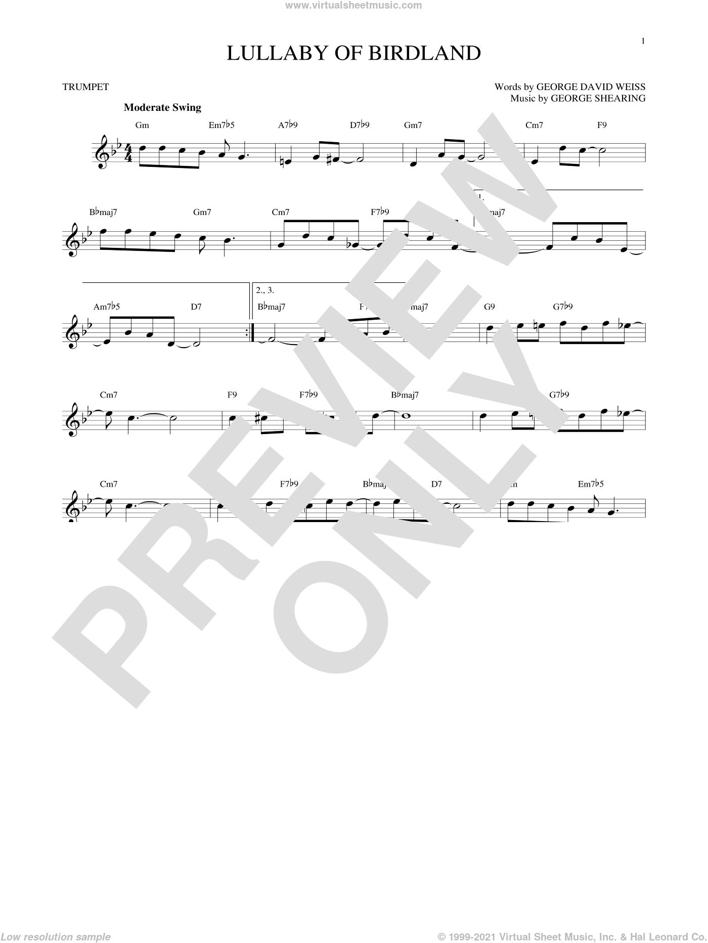 Lullaby Of Birdland sheet music for trumpet solo by George Shearing and George David Weiss. Score Image Preview.