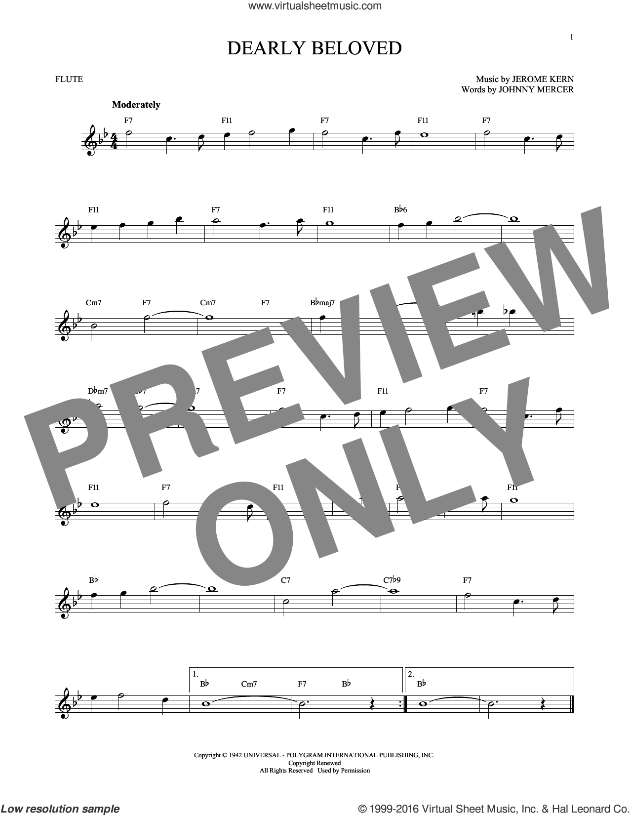 Dearly Beloved sheet music for flute solo by Jerome Kern and Johnny Mercer, intermediate. Score Image Preview.