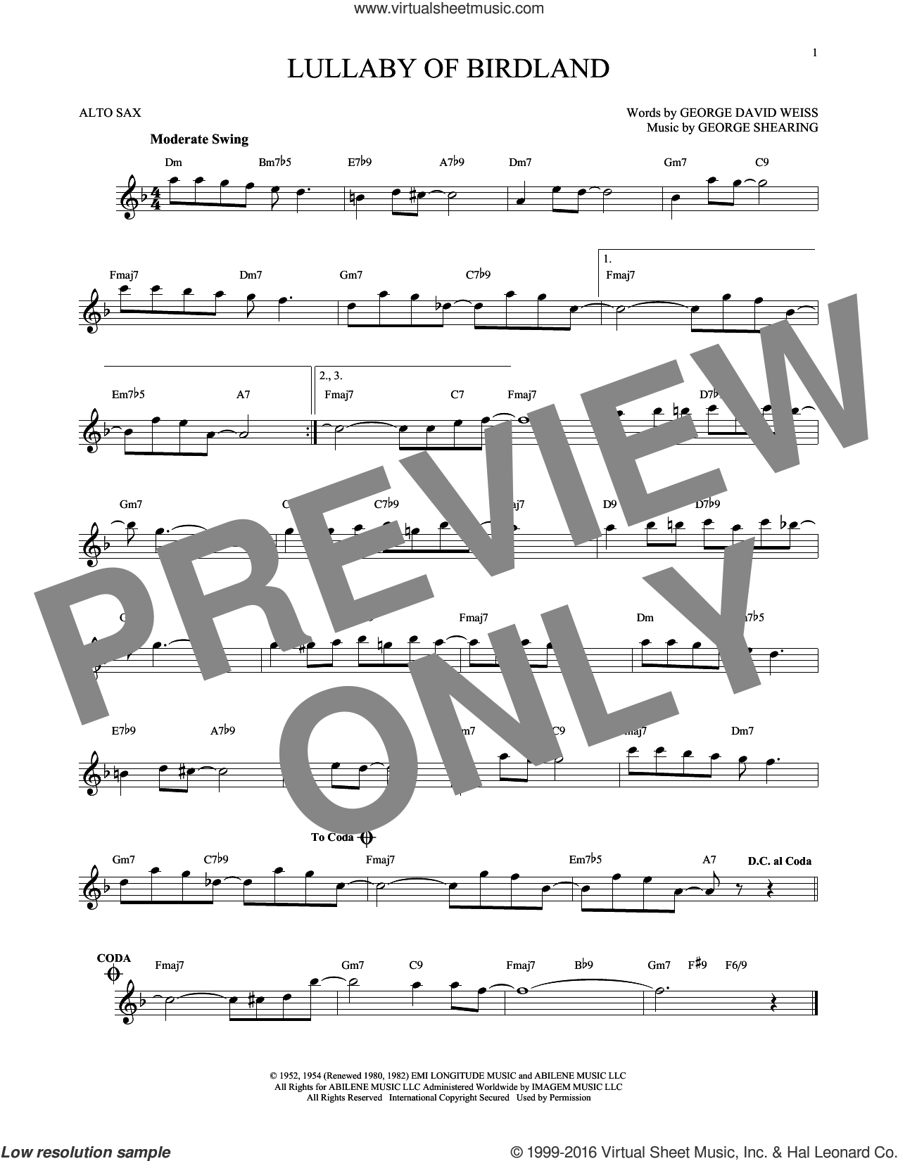 Lullaby Of Birdland sheet music for alto saxophone solo by George David Weiss and George Shearing, intermediate alto saxophone. Score Image Preview.