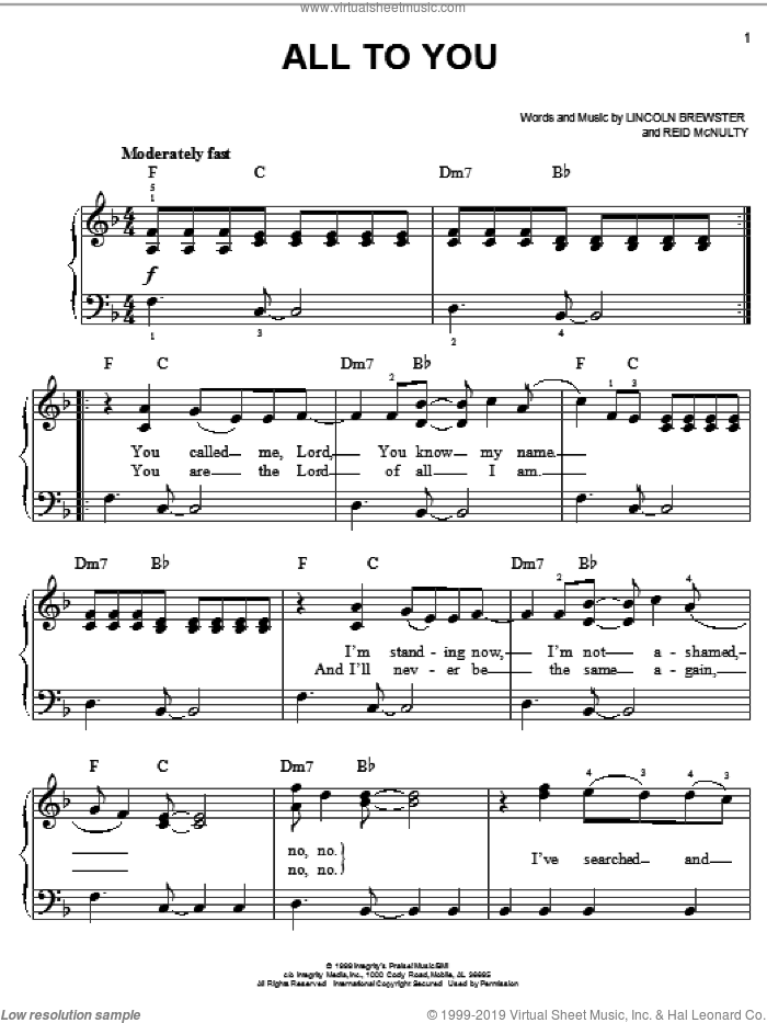 All To You sheet music for piano solo by Lincoln Brewster and Reid McNulty, easy skill level
