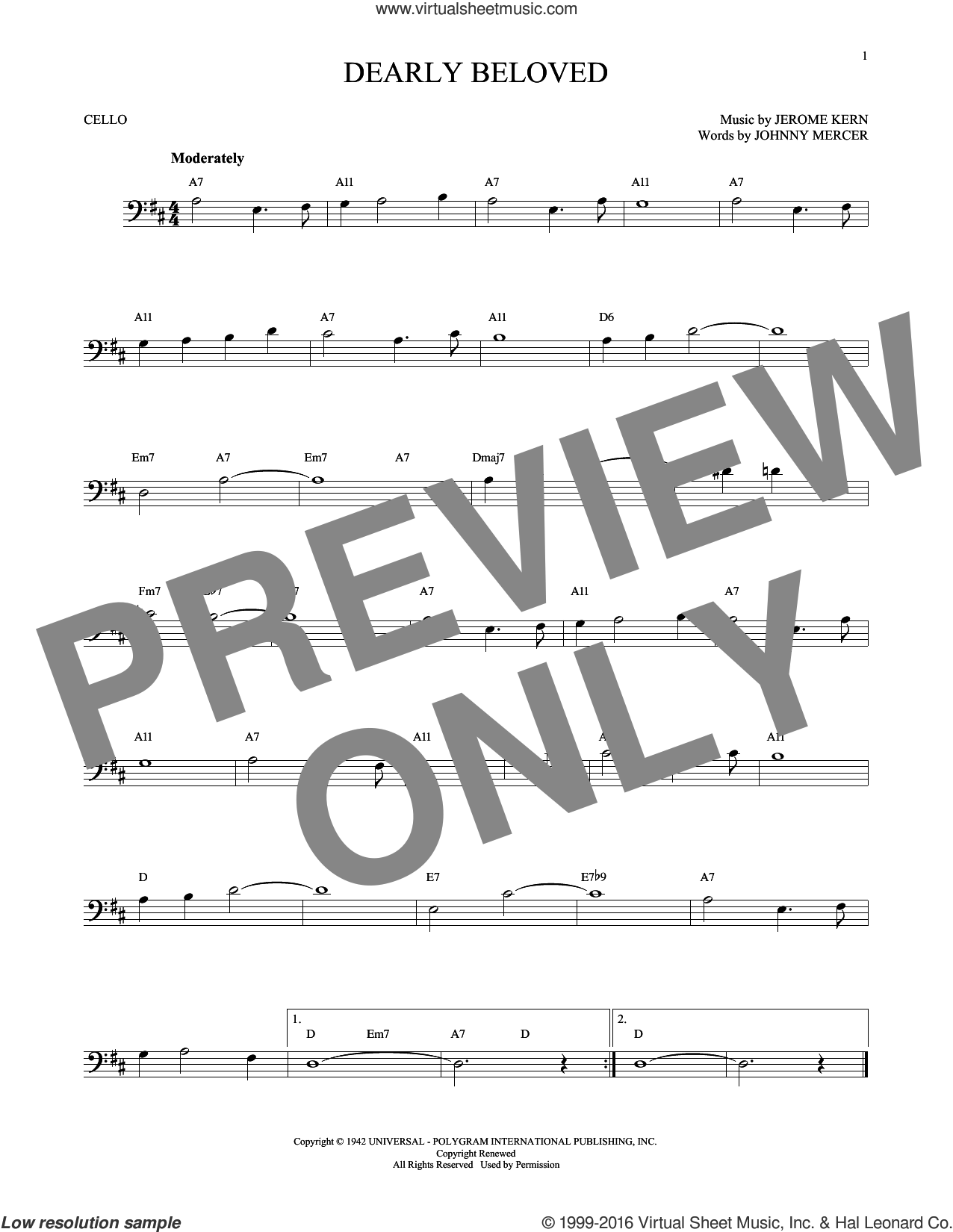 Dearly Beloved sheet music for cello solo by Jerome Kern and Johnny Mercer, intermediate skill level