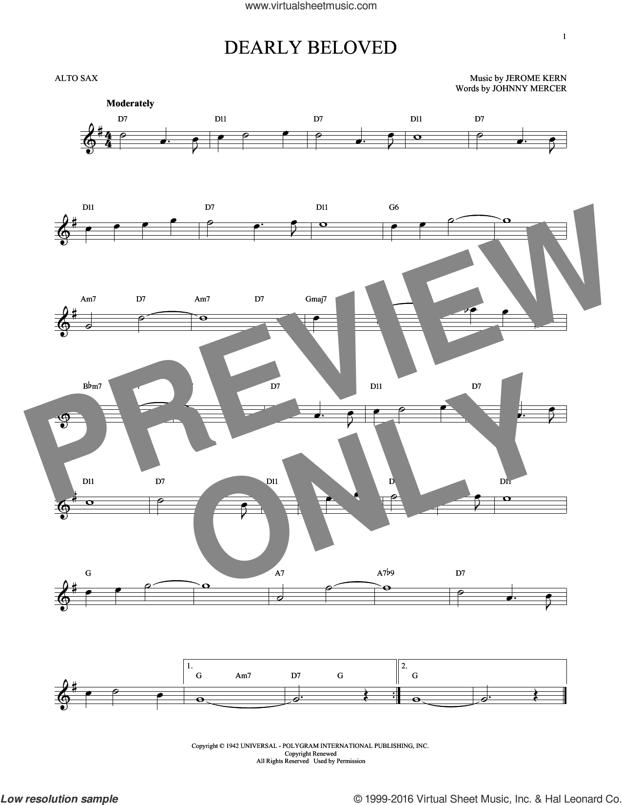 Dearly Beloved sheet music for alto saxophone solo by Jerome Kern and Johnny Mercer, intermediate skill level