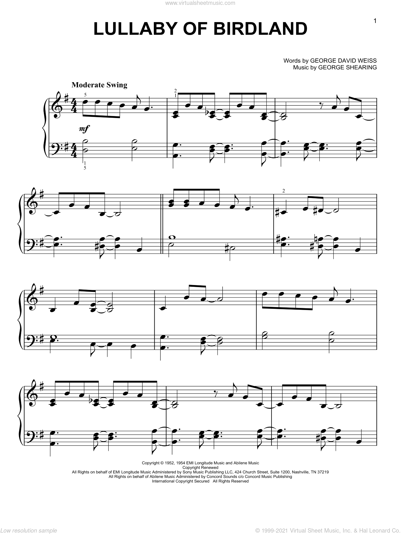 Lullaby Of Birdland sheet music for piano solo by George David Weiss and George Shearing, easy skill level