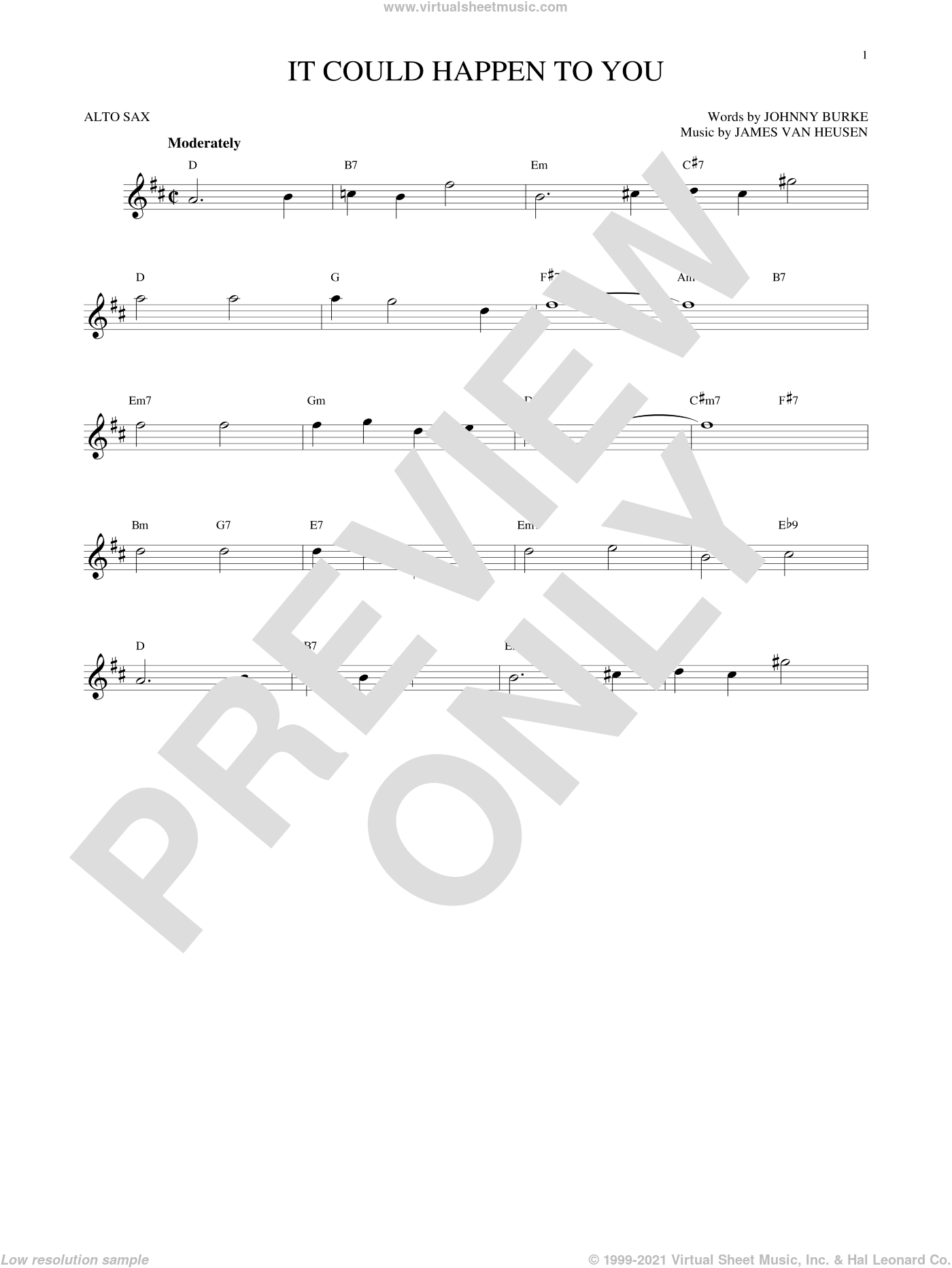 It Could Happen To You sheet music for alto saxophone solo by Jimmy van Heusen, June Christy and John Burke, intermediate alto saxophone. Score Image Preview.