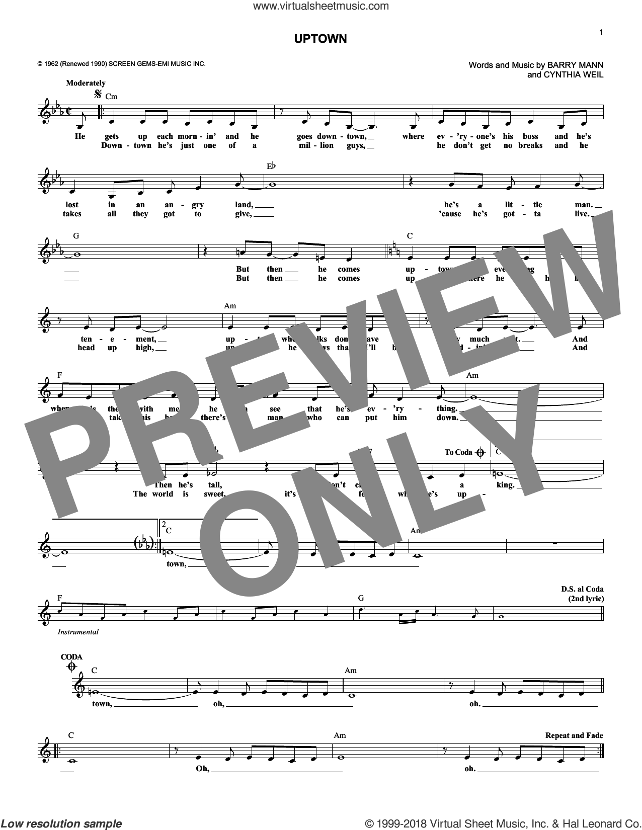Uptown sheet music for voice and other instruments (fake book) by The Crystals, Barry Mann and Cynthia Weil, intermediate. Score Image Preview.