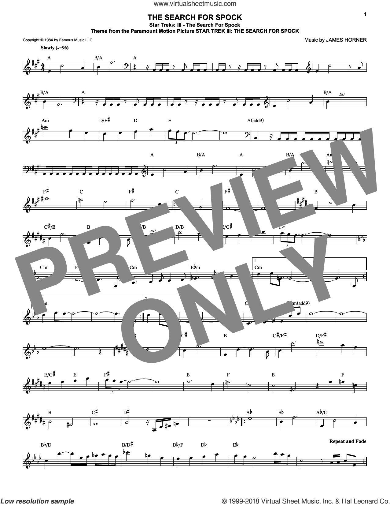 Star Trek III - The Search For Spock sheet music for voice and other instruments (fake book) by James Horner, intermediate skill level