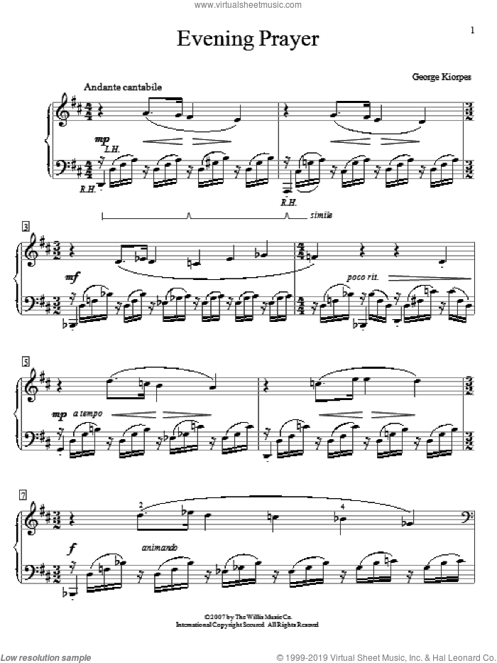 Evening Prayer sheet music for piano solo (elementary) by George Kiorpes, beginner piano (elementary)