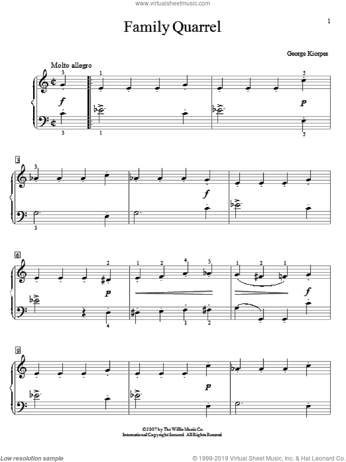 Family Quarrel sheet music for piano solo (elementary) by George Kiorpes, beginner piano (elementary). Score Image Preview.