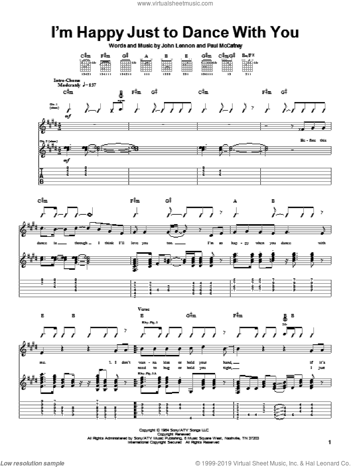 I'm Happy Just To Dance With You sheet music for guitar (tablature) by The Beatles, John Lennon and Paul McCartney, intermediate. Score Image Preview.