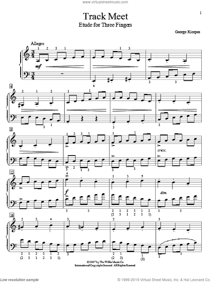 Track Meet sheet music for piano solo (elementary) by George Kiorpes. Score Image Preview.
