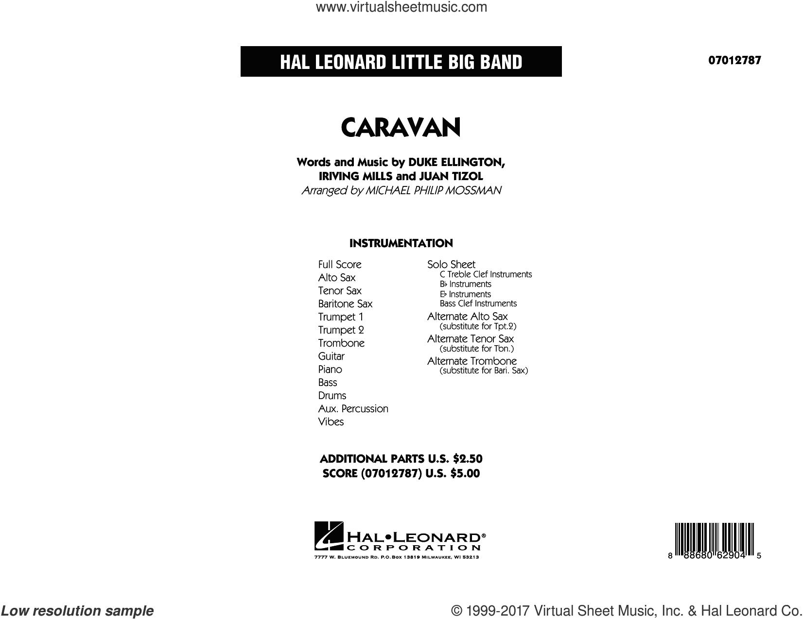 Caravan (COMPLETE) sheet music for jazz band by Duke Ellington, Billy Eckstine, Duke Ellington and his Orchestra, Irving Mills, Juan Tizol, Michael Philip Mossman and Ralph Marterie, intermediate skill level