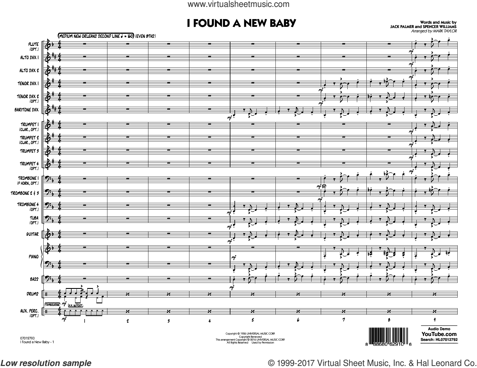 I Found a New Baby (COMPLETE) sheet music for jazz band by Mark Taylor, Benny Goodman, Jack Palmer and Spencer Williams, intermediate. Score Image Preview.