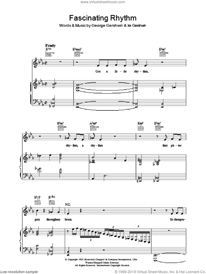 Fascinating Rhythm sheet music for voice, piano or guitar by George Gershwin