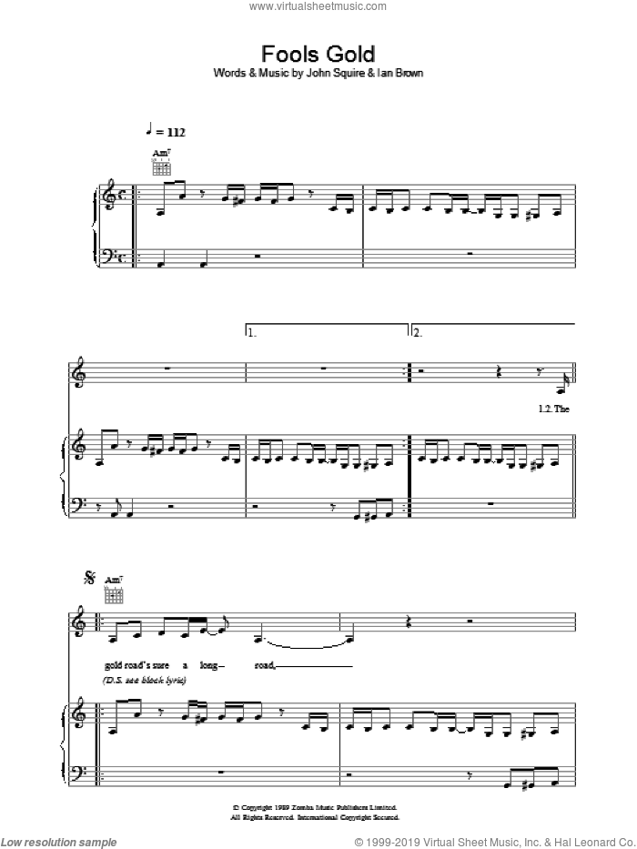 Fool's Gold sheet music for voice, piano or guitar by The Stone Roses, Ian Brown and John Squire, intermediate voice, piano or guitar. Score Image Preview.