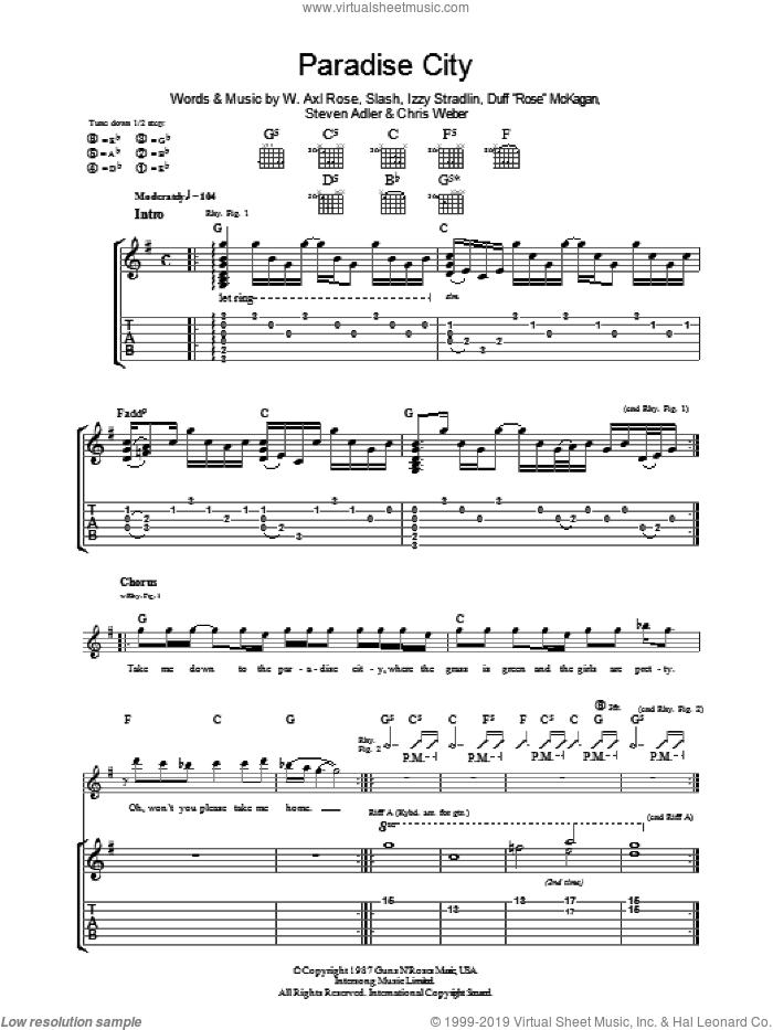 Paradise City sheet music for guitar (tablature) by Duff McKagan, Izzy Stradlin, Slash and Steven Adler. Score Image Preview.