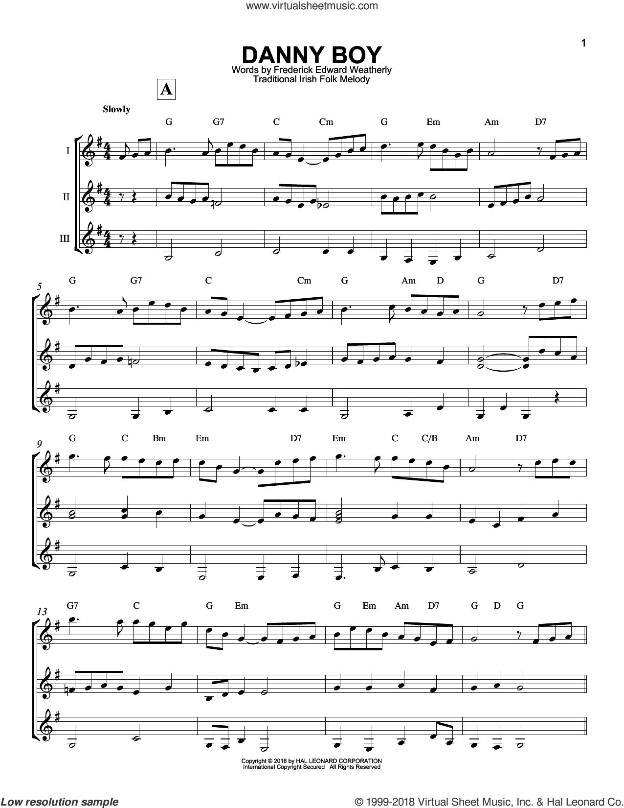 Danny Boy sheet music for guitar ensemble by Traditional Irish and Frederick Edward Weatherly, intermediate skill level
