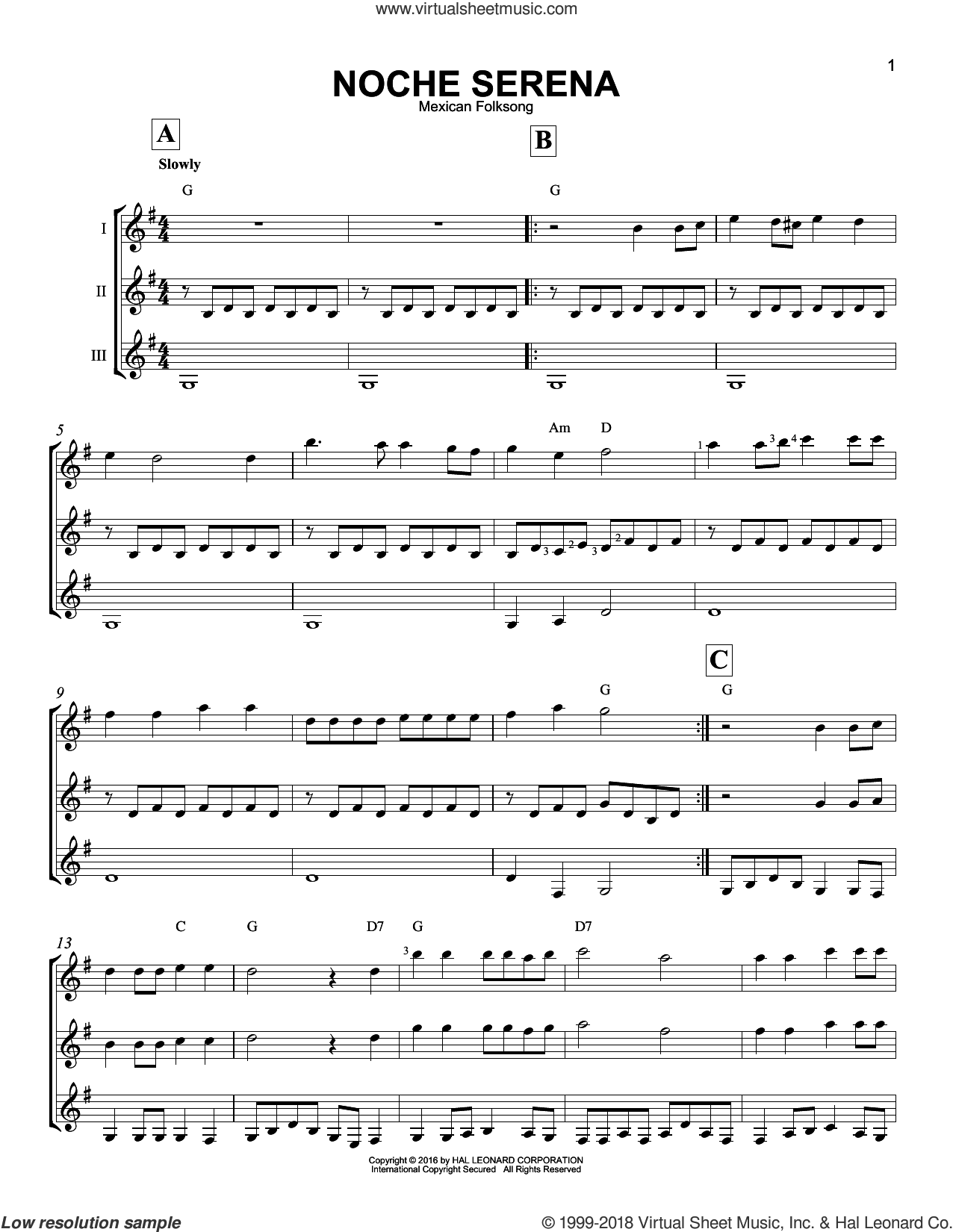 Noche Serena sheet music for guitar ensemble by Mexican Folksong. Score Image Preview.