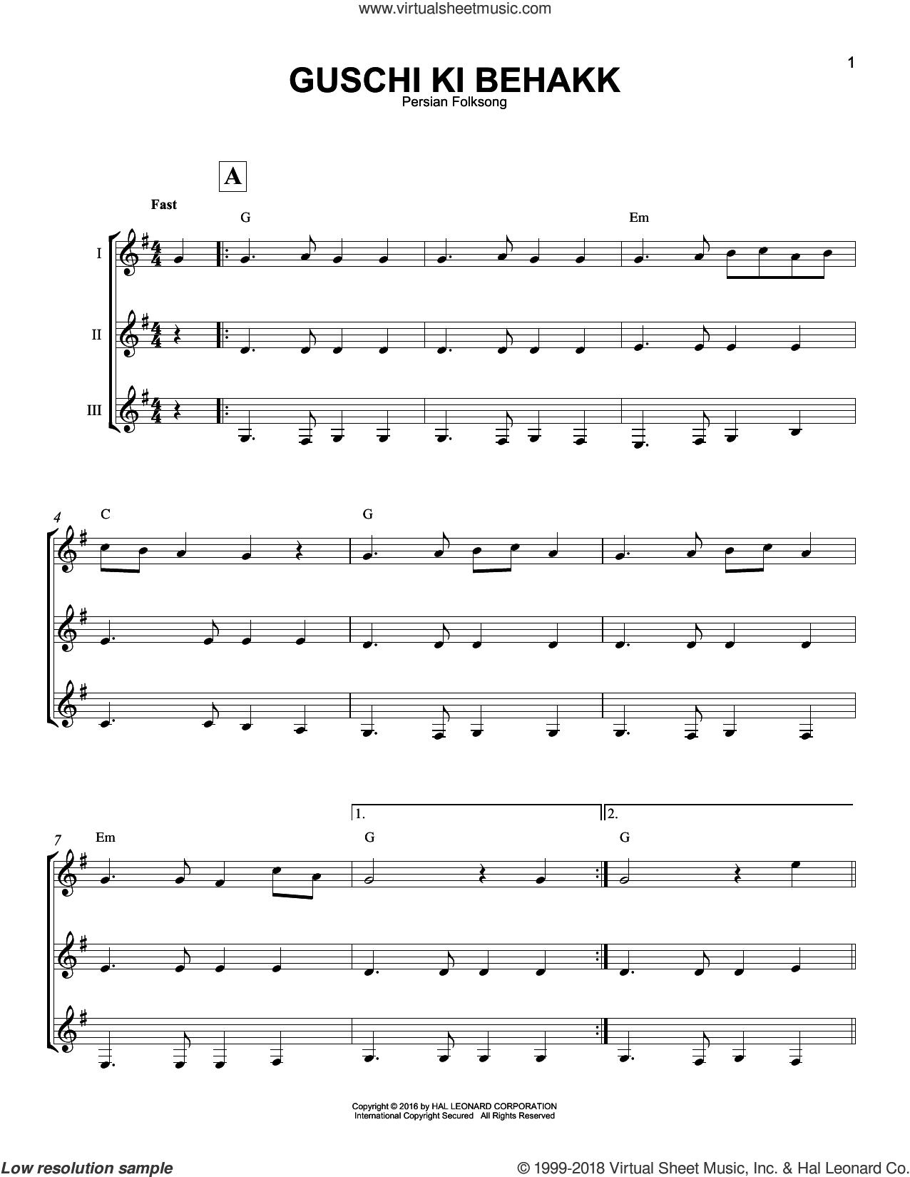Guschi Ki Behakk sheet music for guitar ensemble by Persian Folksong, intermediate skill level