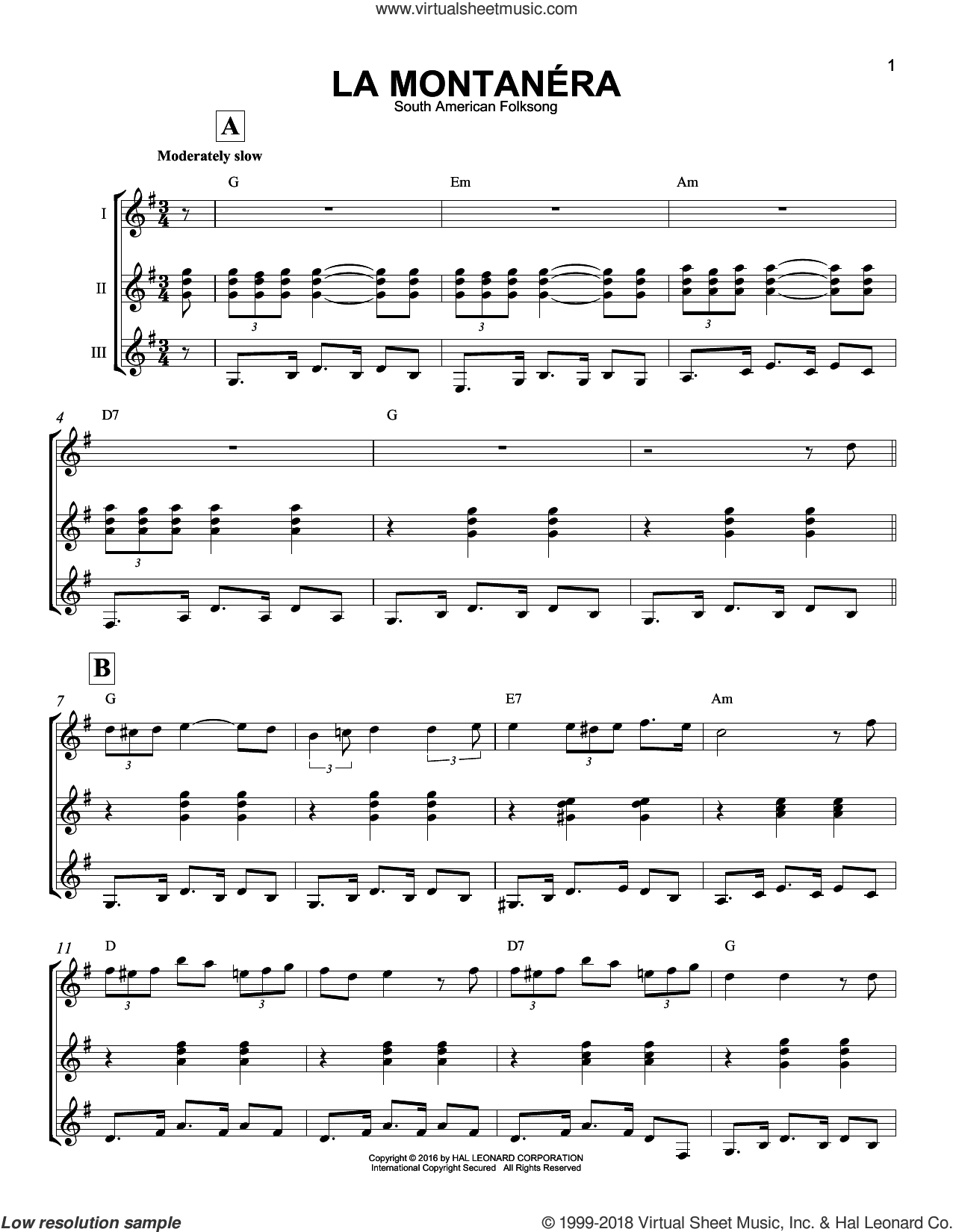 La Montanera sheet music for guitar ensemble by South American Folksong, intermediate skill level