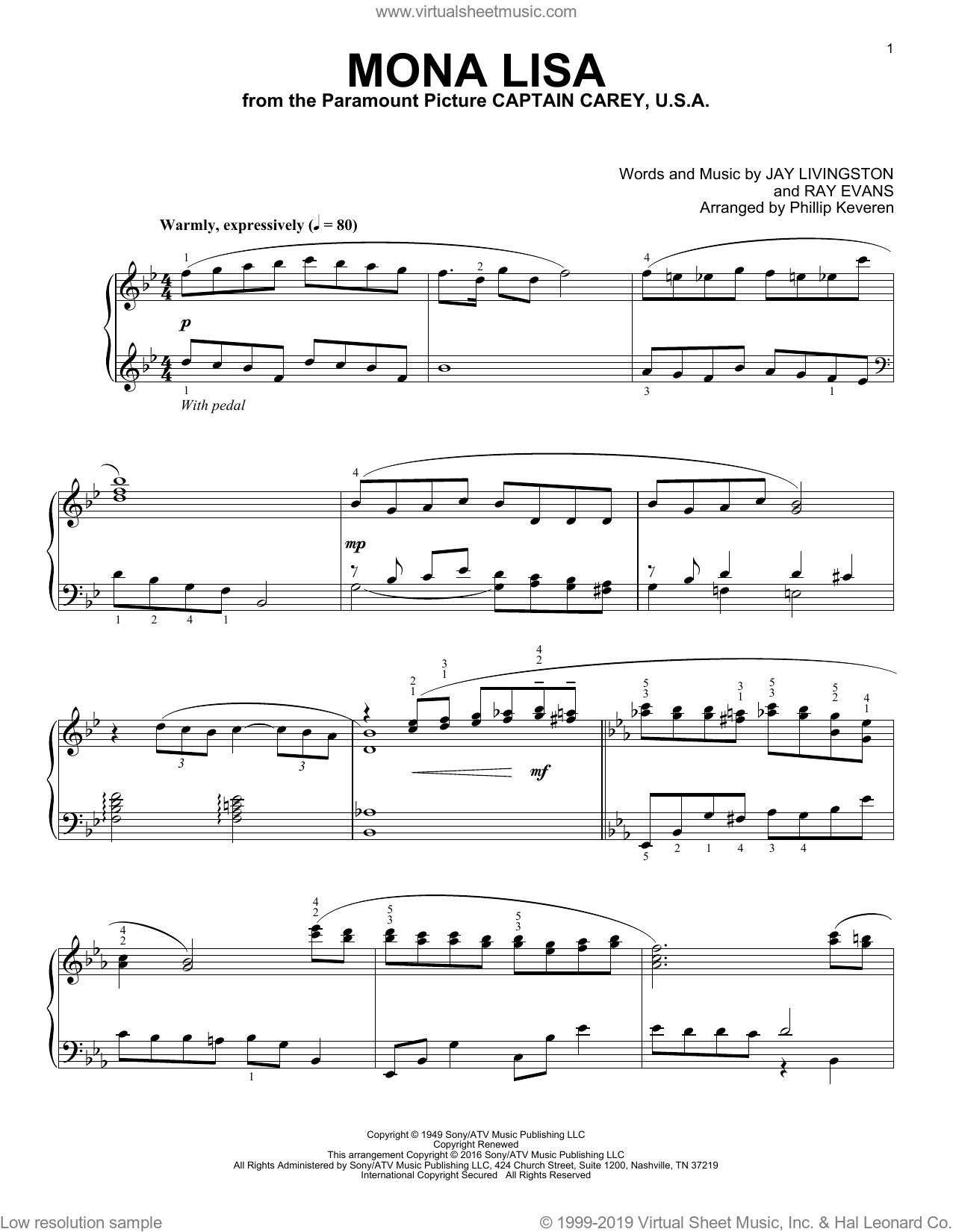 Mona Lisa sheet music for piano solo by Jay Livingston, Phillip Keveren, Nat King Cole and Ray Evans, intermediate skill level