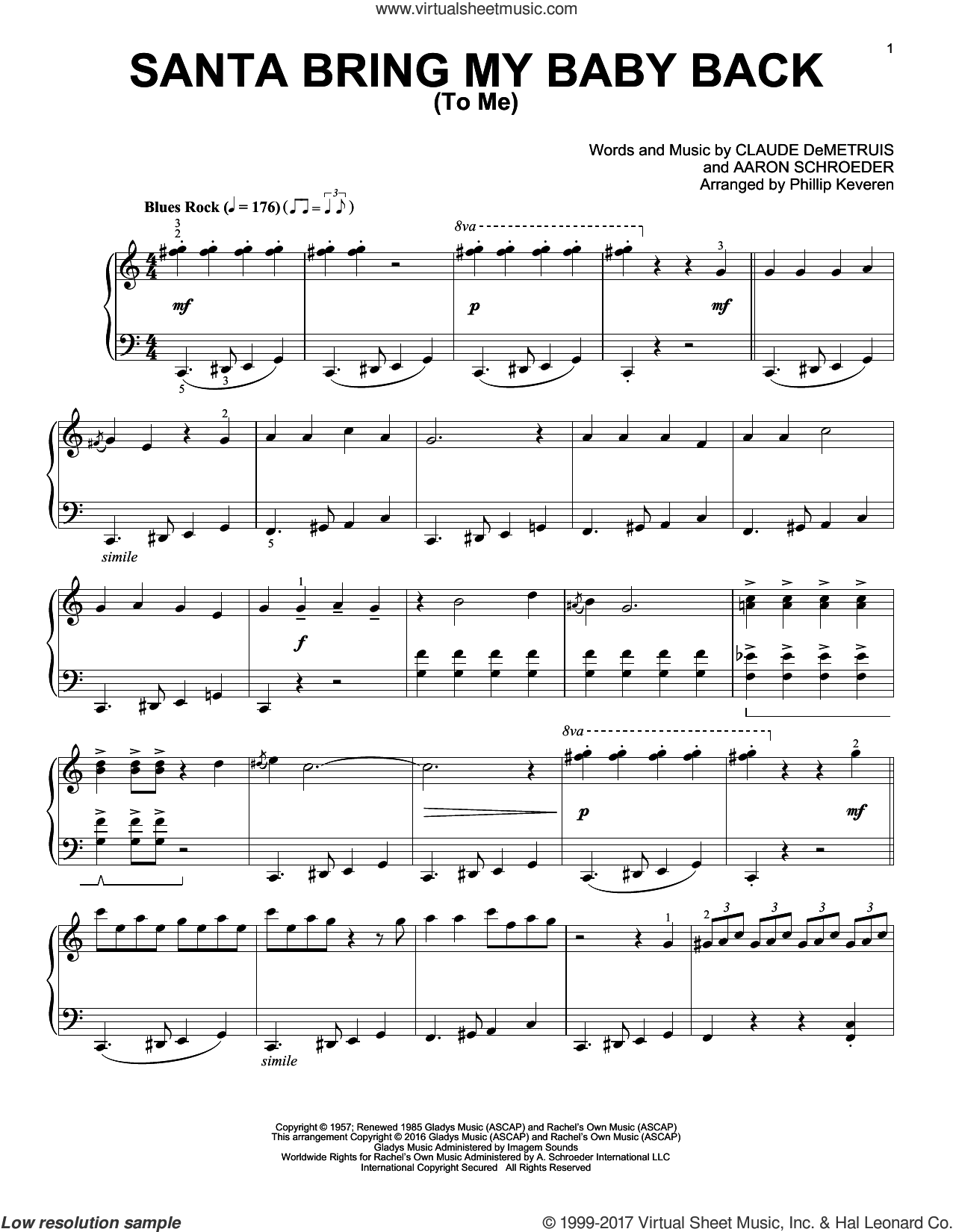 Santa, Bring My Baby Back (To Me) sheet music for piano solo by Aaron Schroeder, Phillip Keveren, Elvis Presley and Claude DeMetruis, intermediate skill level