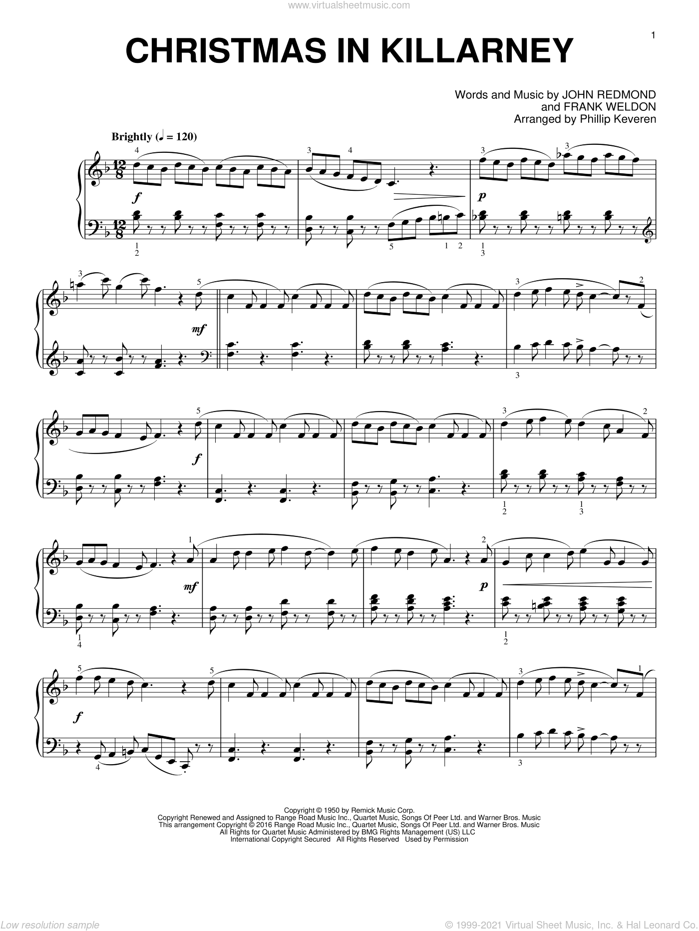 Christmas In Killarney sheet music for piano solo by Frank Weldon, Phillip Keveren and John Redmond. Score Image Preview.