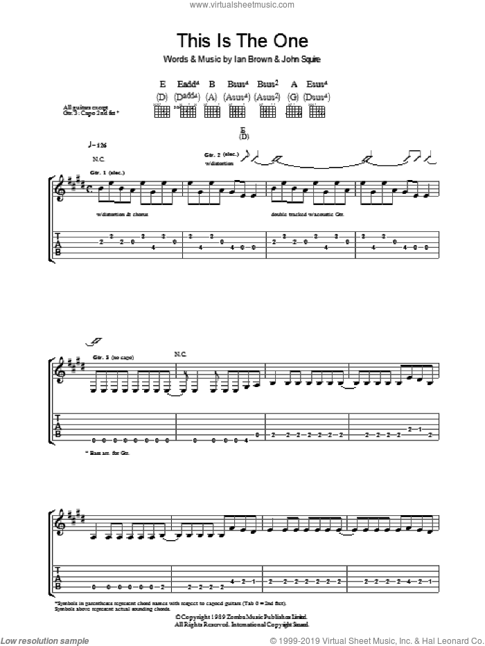 This is The One sheet music for guitar (tablature) by The Stone Roses, Ian Brown and John Squire, intermediate skill level