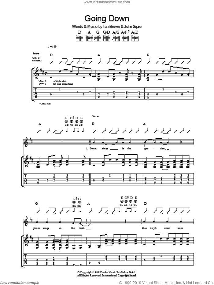 Going Down sheet music for guitar (tablature) by The Stone Roses, Ian Brown and John Squire, intermediate guitar (tablature). Score Image Preview.
