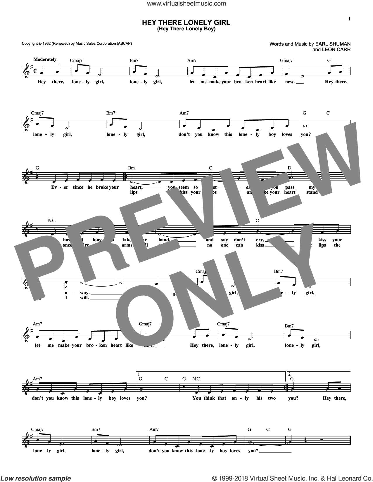 Hey There Lonely Girl (Hey There Lonely Boy) sheet music for voice and other instruments (fake book) by Ruby & The Romantics, Eddie Holman, Earl Shuman and Leon Carr, intermediate skill level