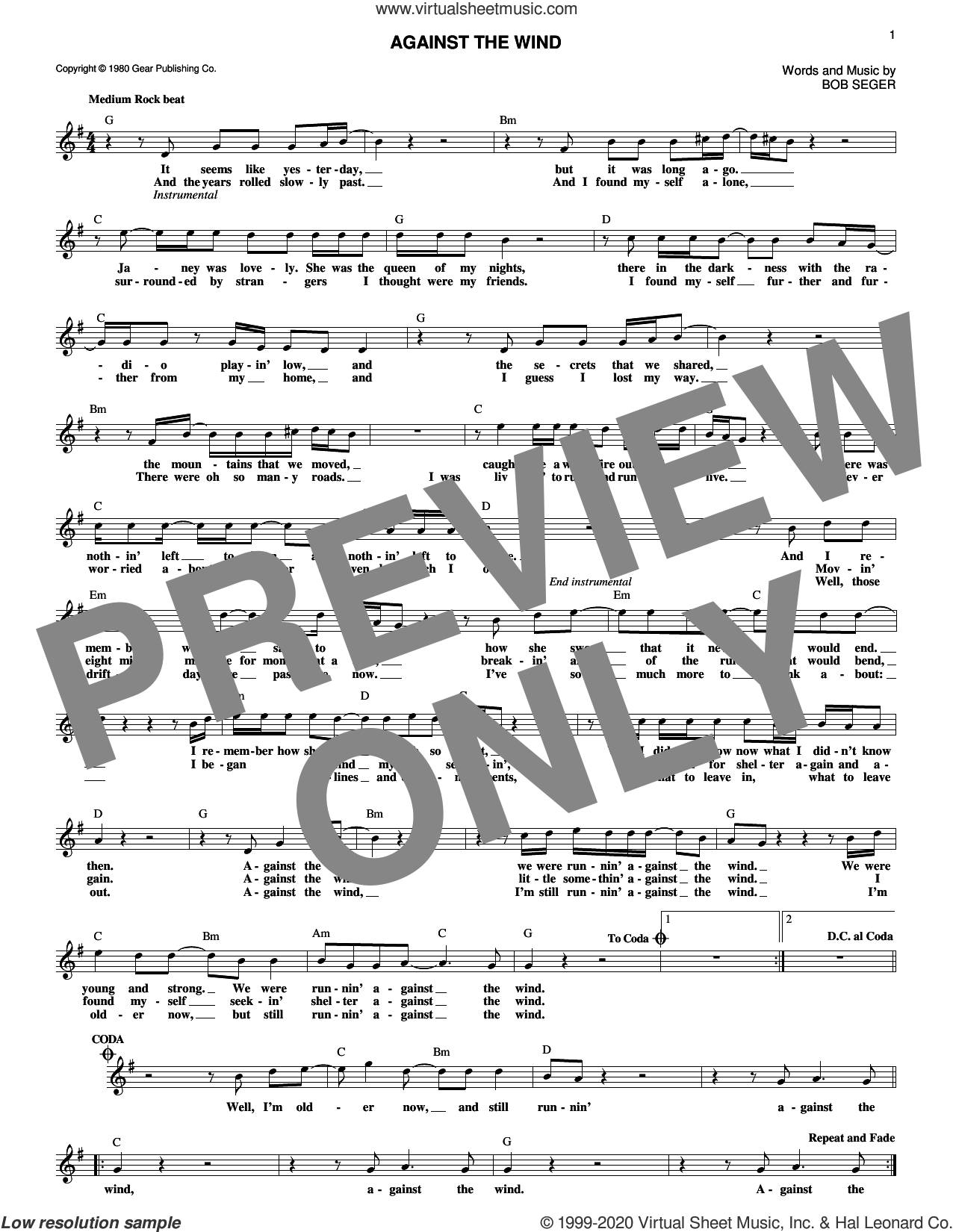 Against The Wind sheet music for voice and other instruments (fake book) by Bob Seger and Bob Seger & The Silver Bullet Band, intermediate skill level