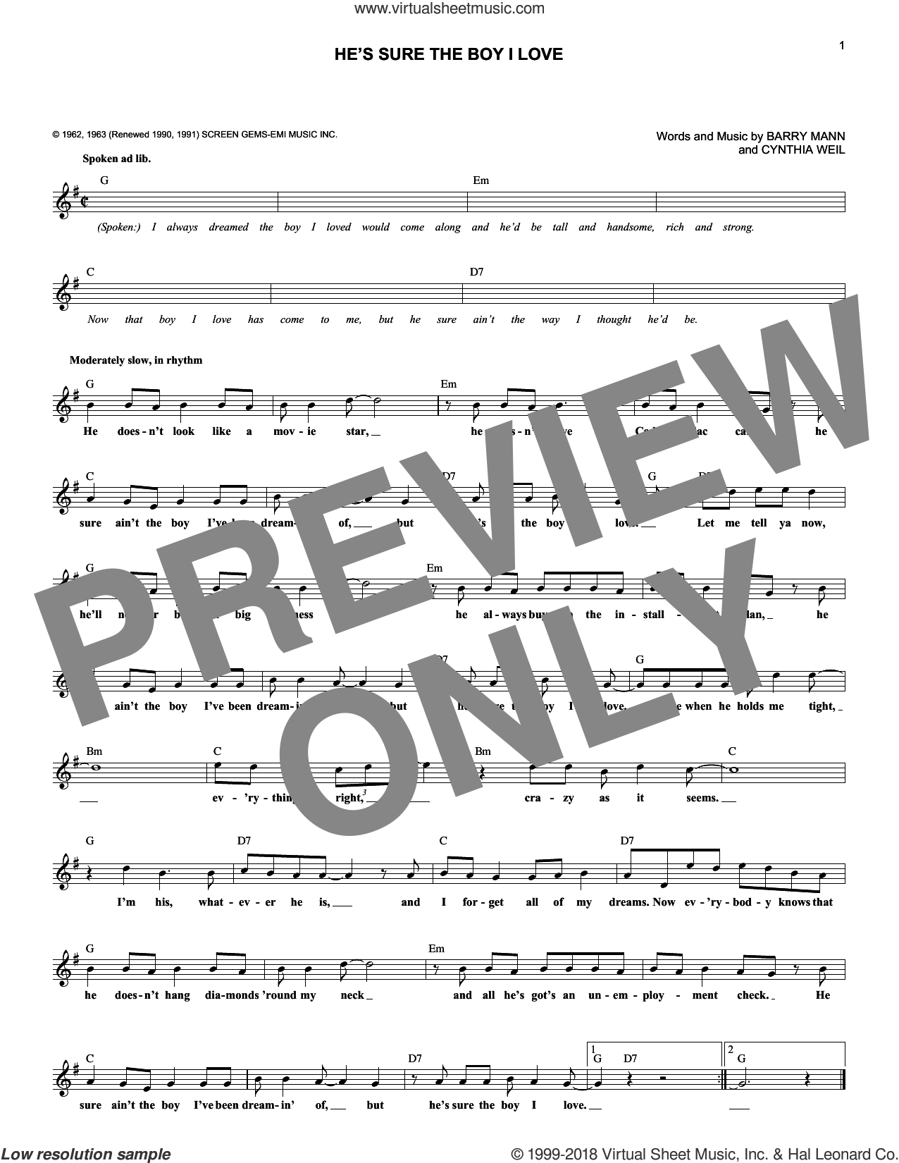 He's Sure The Boy I Love sheet music for voice and other instruments (fake book) by Cynthia Weil, The Crystals and Barry Mann. Score Image Preview.