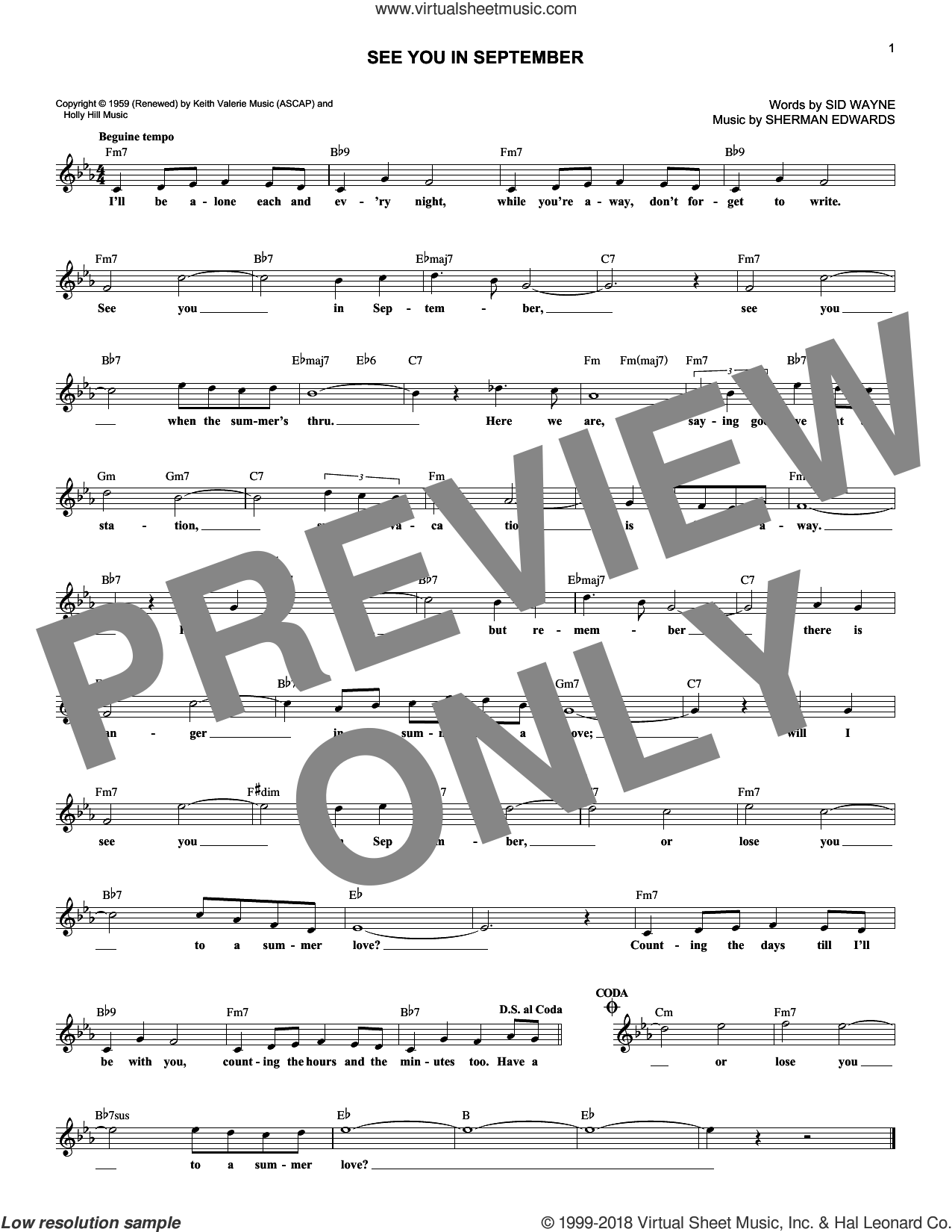 See You In September sheet music for voice and other instruments (fake book) by Sid Wayne and Sherman Edwards. Score Image Preview.