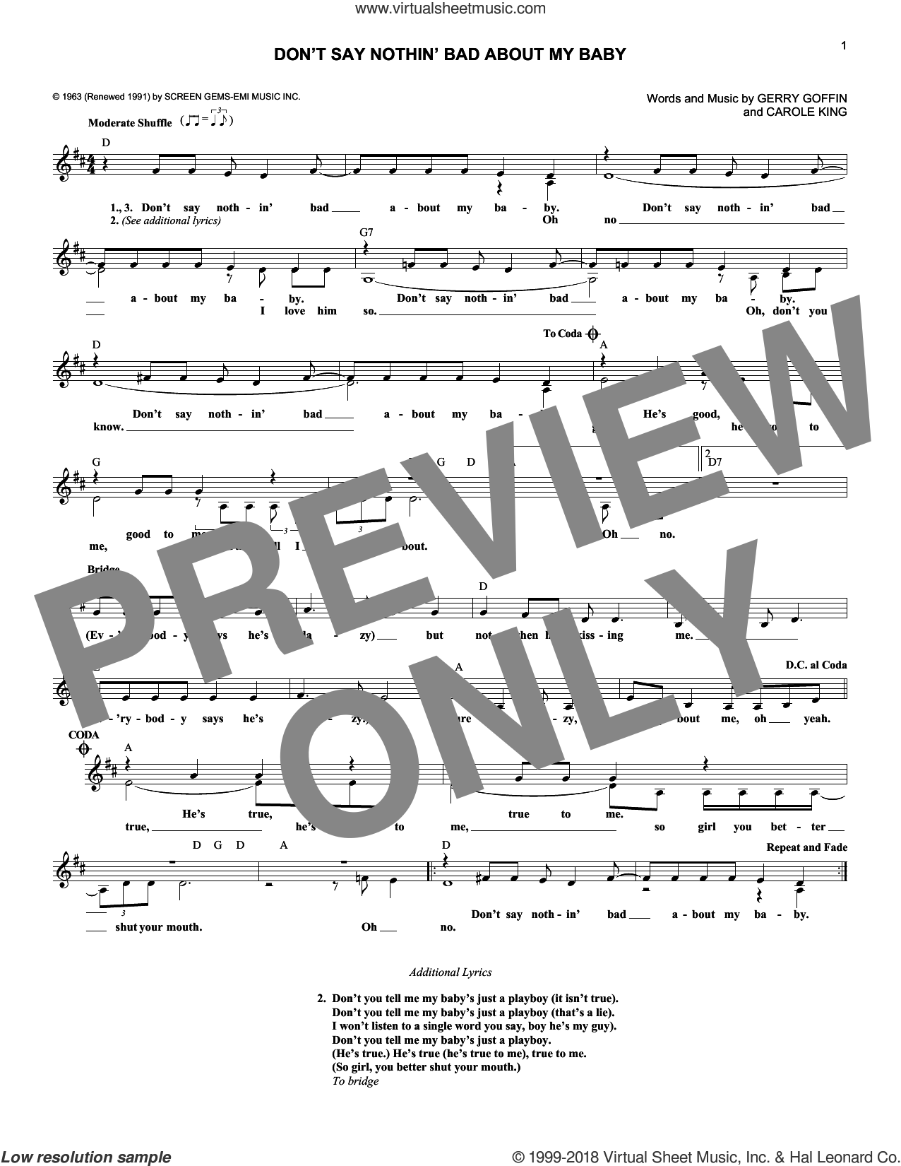 Don't Say Nothin' Bad About My Baby sheet music for voice and other instruments (fake book) by The Cookies, Carole King and Gerry Goffin, intermediate skill level