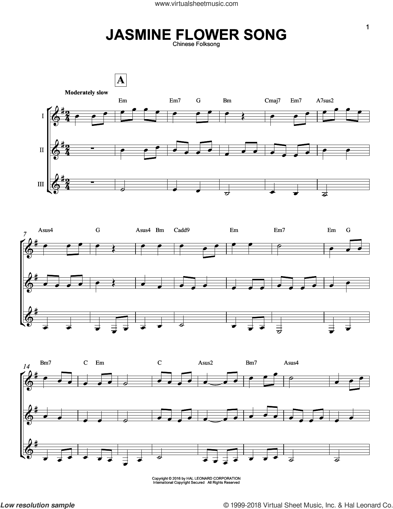 Jasmine Flower Song sheet music for guitar ensemble, intermediate skill level