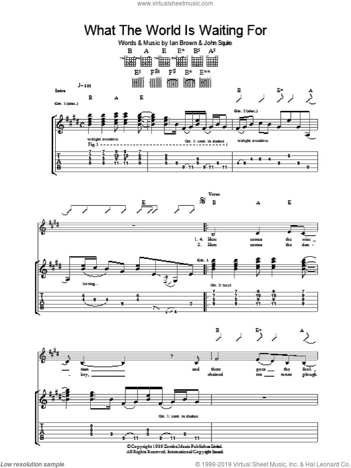 What The World Is Waiting For sheet music for guitar (tablature) by The Stone Roses, Ian Brown and John Squire, intermediate skill level