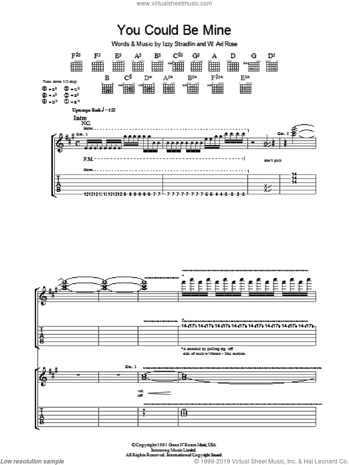 You Could Be Mine sheet music for guitar (tablature) by Izzy Stradlin