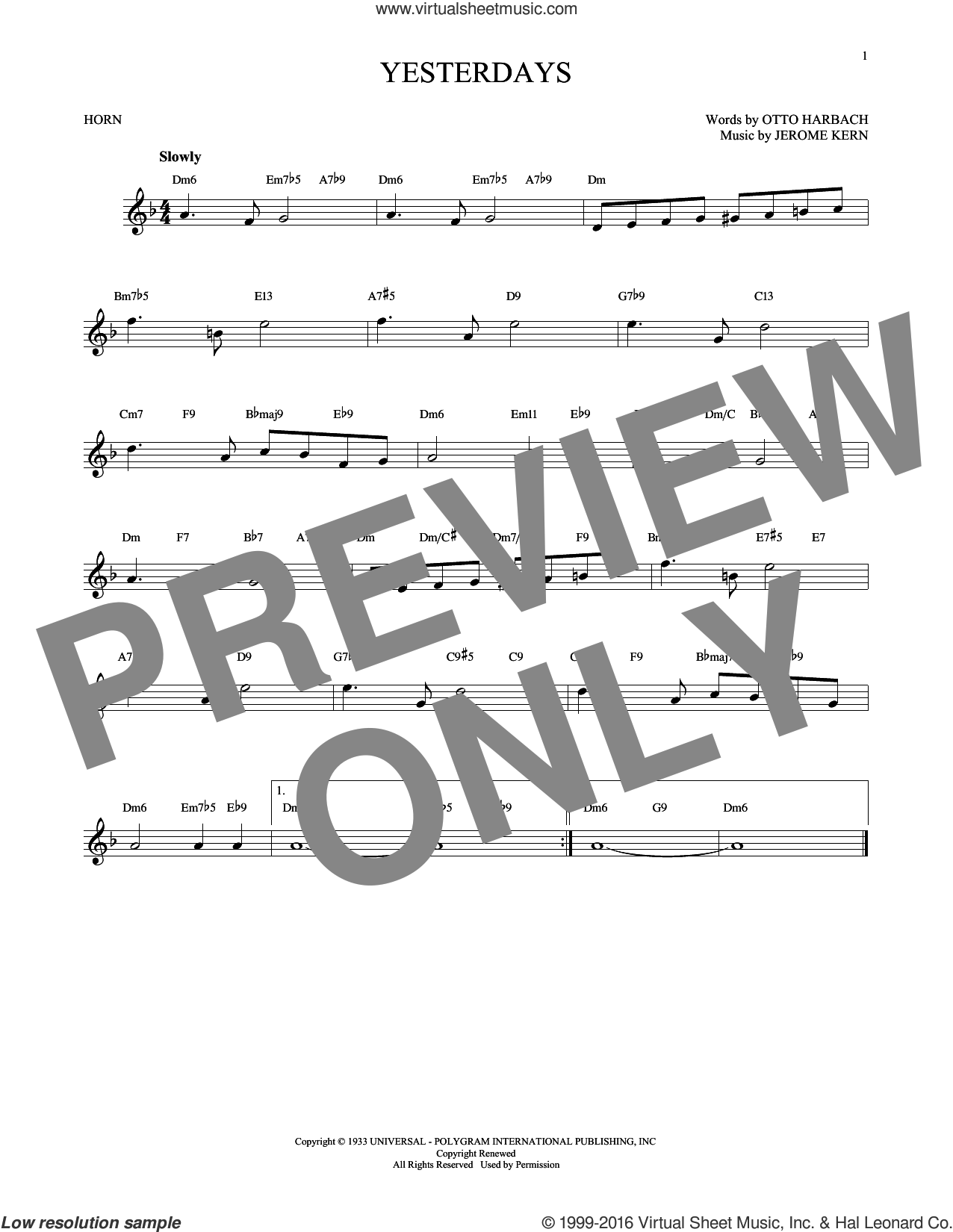 Yesterdays sheet music for horn solo by Jerome Kern and Otto Harbach, intermediate horn. Score Image Preview.