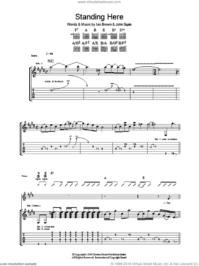 Standing Here sheet music for guitar (tablature) by The Stone Roses, Ian Brown and John Squire, intermediate skill level