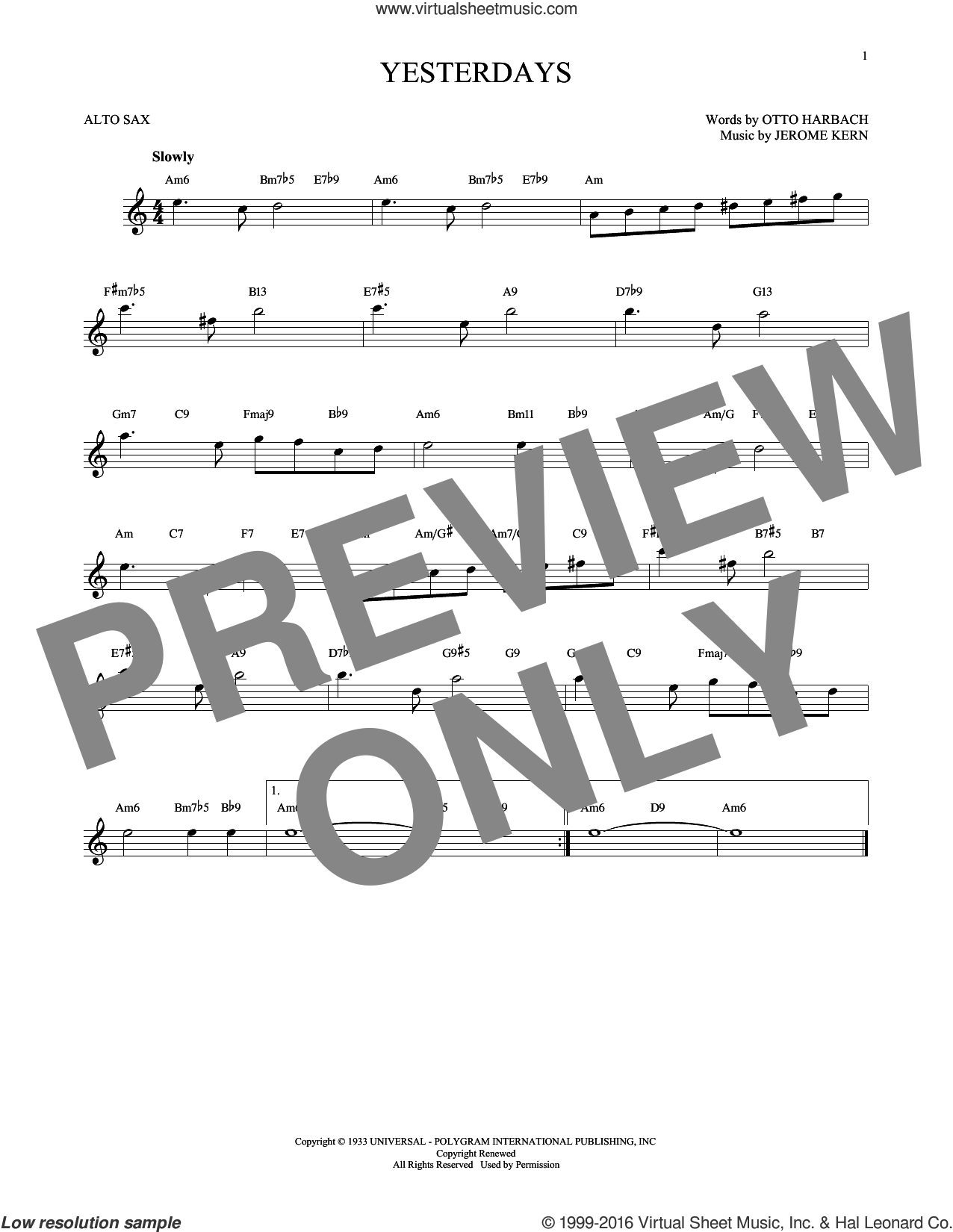 Yesterdays sheet music for alto saxophone solo by Jerome Kern and Otto Harbach. Score Image Preview.
