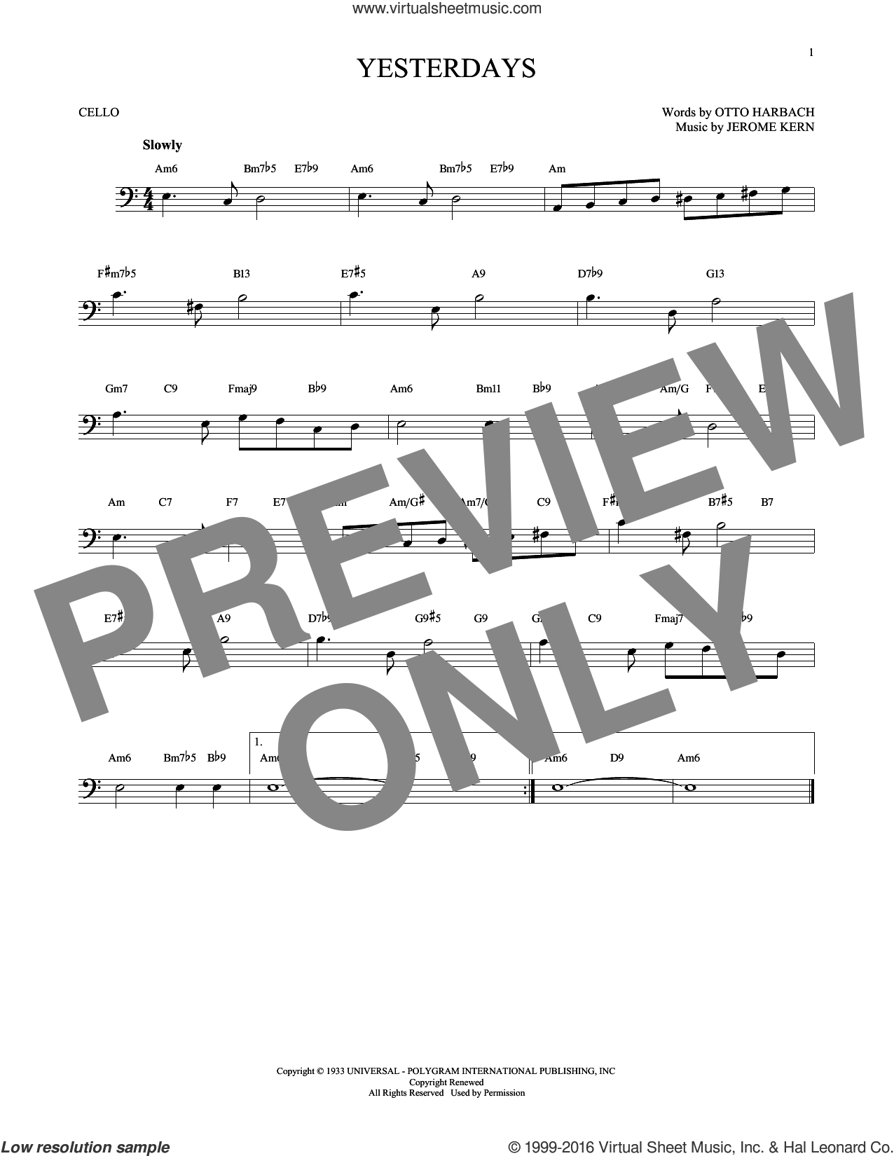 Yesterdays sheet music for cello solo by Jerome Kern and Otto Harbach, intermediate skill level