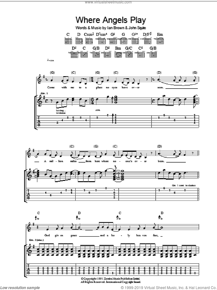 Where Angels Play sheet music for guitar (tablature) by Ian Brown and John Squire. Score Image Preview.