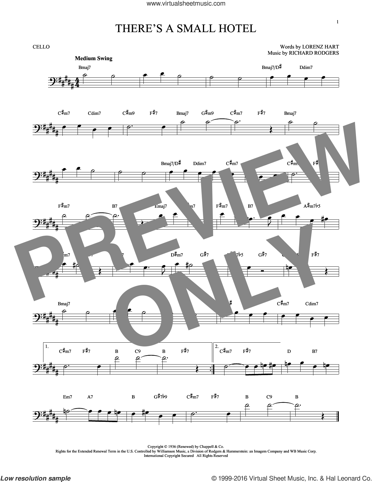 There's A Small Hotel sheet music for cello solo by Rodgers & Hart, Charlie Byrd, Ruby Braff, Sammy Davis, Jr., Lorenz Hart and Richard Rodgers, intermediate skill level