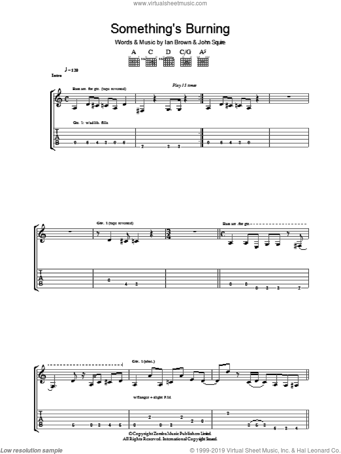 Something's Burning sheet music for guitar (tablature) by Ian Brown and John Squire. Score Image Preview.