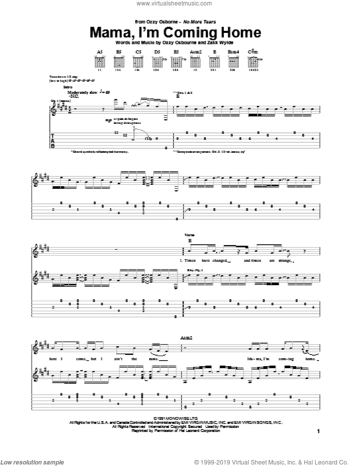 Mama, I'm Coming Home sheet music for guitar (tablature) by Ozzy Osbourne and Zakk Wylde, intermediate skill level