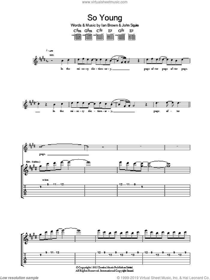 So Young sheet music for guitar (tablature) by The Stone Roses, Ian Brown and John Squire. Score Image Preview.