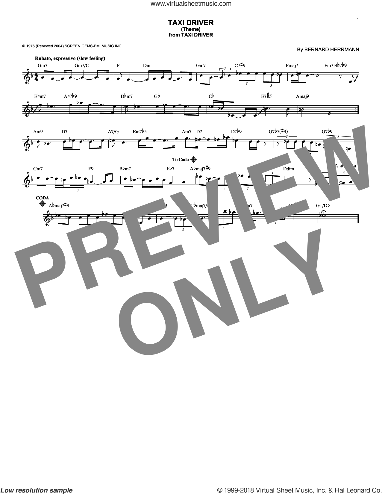 Taxi Driver (Theme) sheet music for voice and other instruments (fake book) by Bernard Herrmann. Score Image Preview.